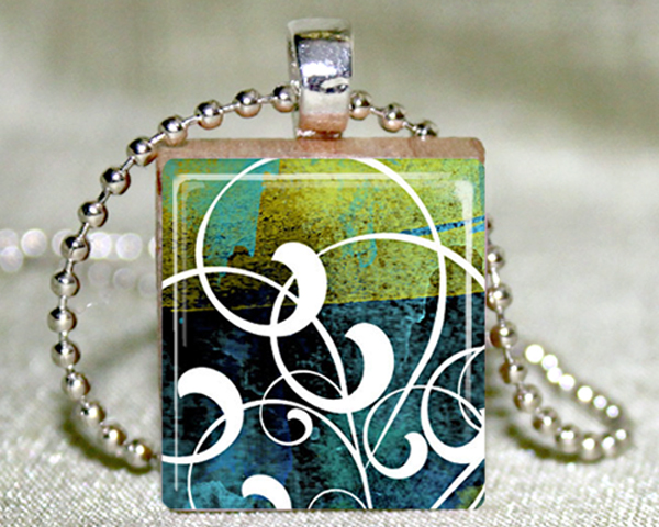 Batik Swirls Scrabble Tile Necklace with Matching Gift Tin