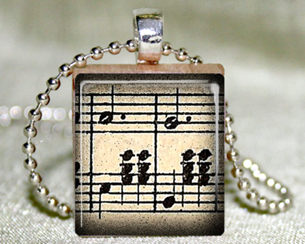 Waltz Music Scrabble Pendant with Necklace and Matching Gift Tin