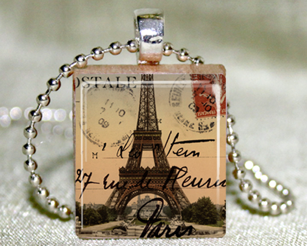 Eiffel Tower Scrabble Pendant with Necklace and Matching Gift Tin