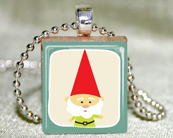 Garden Gnome Scrabble Pendant with Necklace and Matching Gift Tin