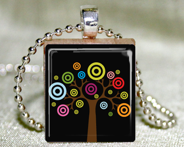 Colorful Tree Scrabble Pendant with Necklace and Matching Gift Tin