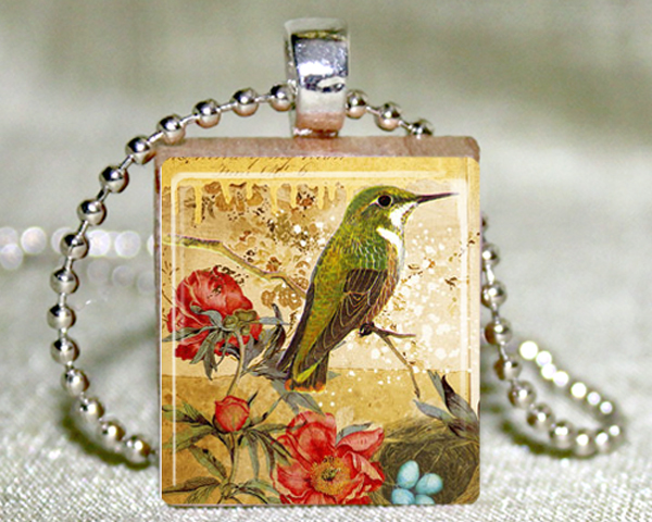 Green Hummingbird Scrabble Tile with Necklace and Matching Gift Tin