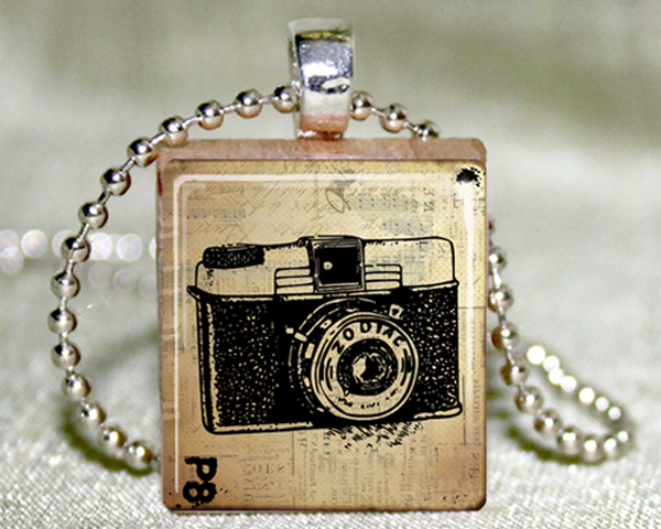 Camera Scrabble Pendant with Necklace and Matching Gift Tin