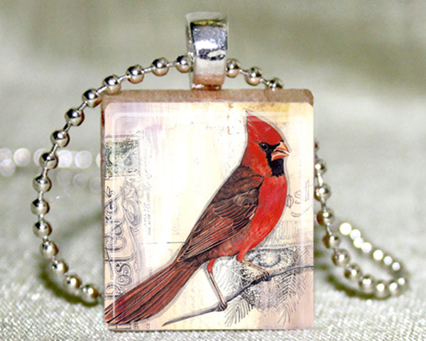 Cardinal Scrabble Pendant with Necklace and Matching Gift Tin