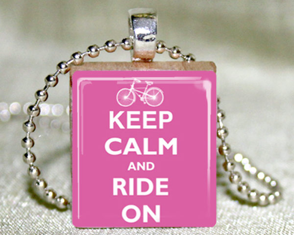 Keep Calm and Ride On (Pink) Scrabble Pendant with Necklace and Matching Gift Tin