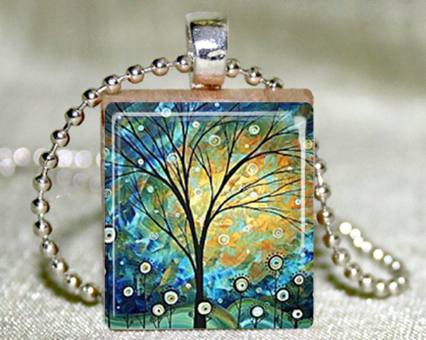 Sunny Day Scrabble Pendant with Necklace and Matching Gift Tin